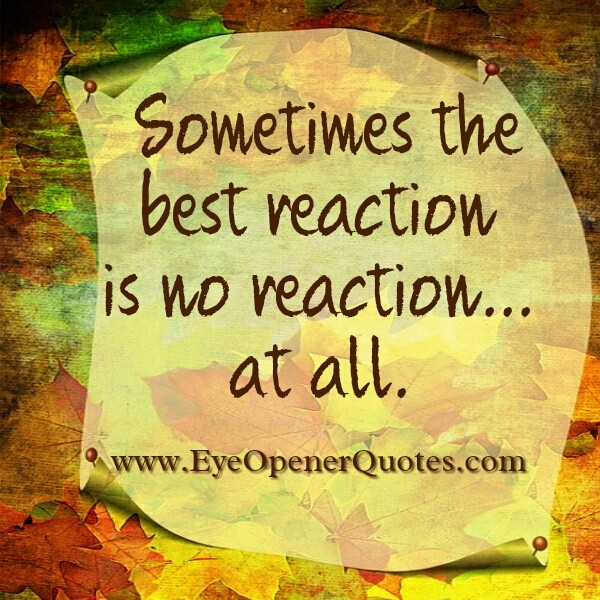 Sometimes the best reaction is no reaction at all