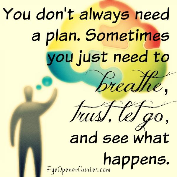 Sometimes you don't always need a plan in life