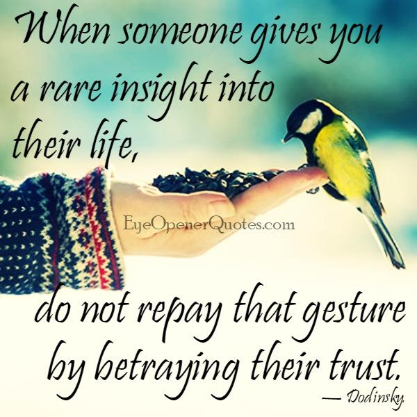 Don't betray someone's trust